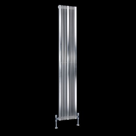 Elevato Brushed Steel Tall Designer Radiator 1800mm high x 300mm wide