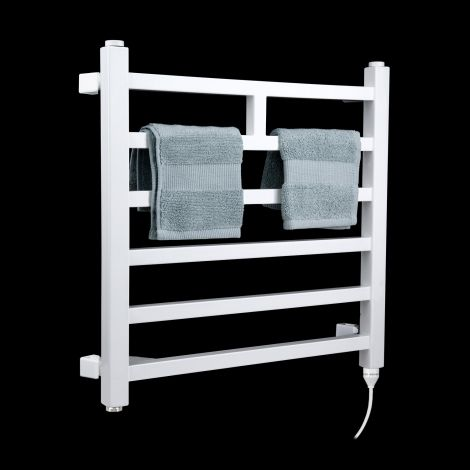 Lineo White Space Saving Short Electric Towel Rail 500mm high x 500mm wide
