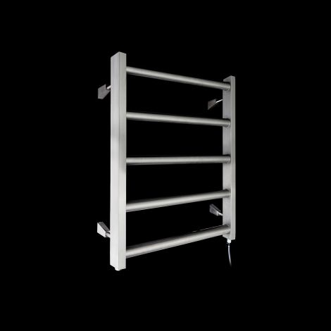 Milas Brushed Stainless Steel Low Level Electric Towel Rail 600mm high x 600mm wide