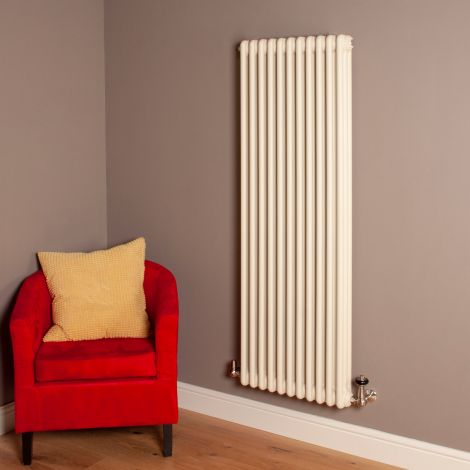 Old Style Matt Cream 3 Column Radiator 1500mm high x 519mm wide