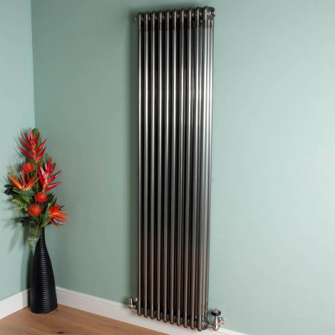 Old Style 7000 BTU Raw Lacquered 3 Column Radiator 1800mm high x 474mm wide