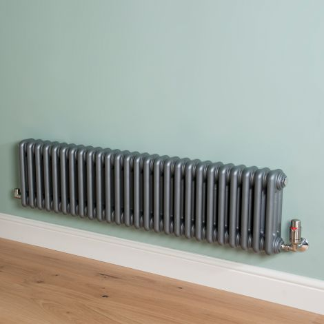 Old Style Low Level Mid Grey 3 Column Radiator 300mm high x 1194mm wide,Small Image,Small Image,Small Image,Small Image,Small Image,Small Image
