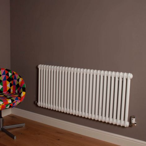 Old Style Gloss White 2 Column Radiator 600mm high x 1329mm wide