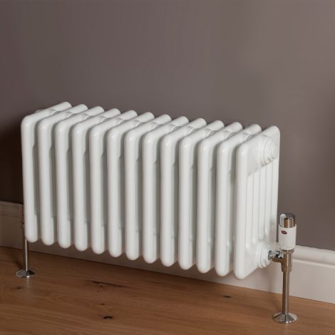 Old Style High Output Gloss White 6 Column Radiator 300mm high x 609mm wide