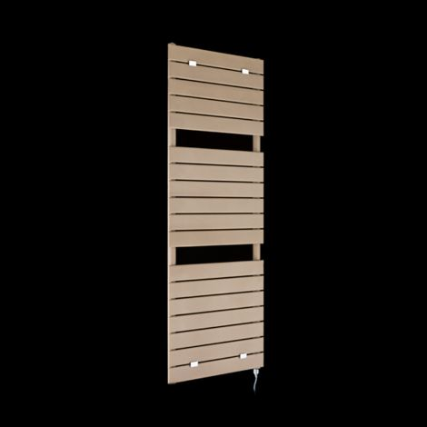 Lazzarini Palermo Sand Brown Tall Designer Electric Towel Rail 1500mm high x 500mm wide