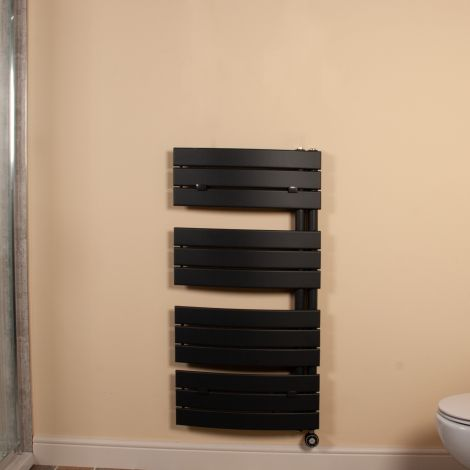 Lazzarini Pieve Anthracite Floating Open Side Large Thermostatic Electric Towel Rail 1080mm high x 550mm wide