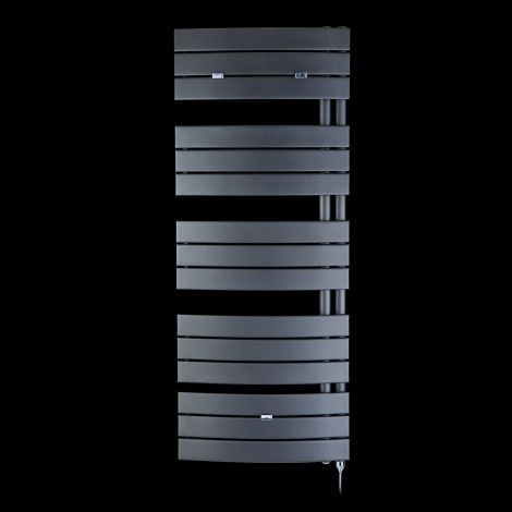 Lazzarini Pieve Anthracite Floating Open Side Designer Large Electric Towel Rail 1380mm high x 550mm wide