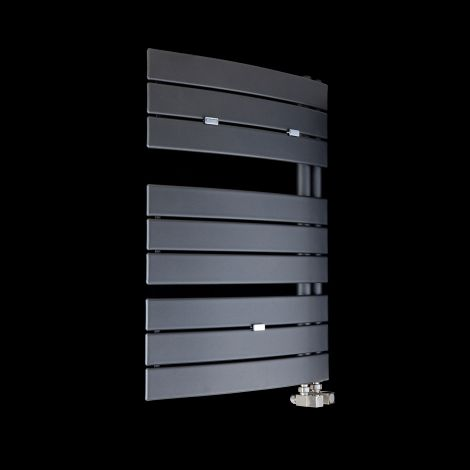 Lazzarini Pieve Anthracite Floating Open Side Designer Heated Towel Rail 780mm high x 550mm wide