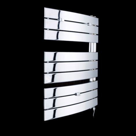 Lazzarini Pieve Chrome Floating Open Side Designer Electric Towel Rail 780mm high x 550mm wide