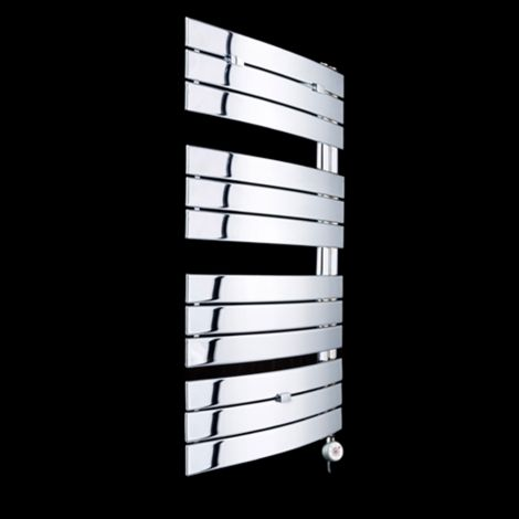 Lazzarini Pieve Chrome Floating Open Side Thermostatic Electric Towel Rail 1080mm high x 550mm wide