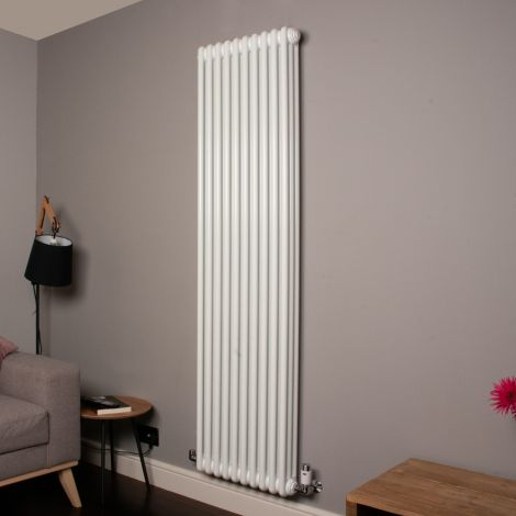 Old Style Tall Slim Gloss White 3 Column Radiator 1800mm high x 474mm wide