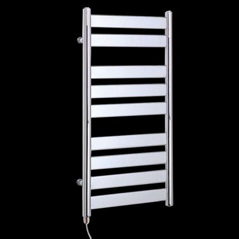 Vesu Chrome Designer Electric Towel Rail 950mm high x 500mm wide
