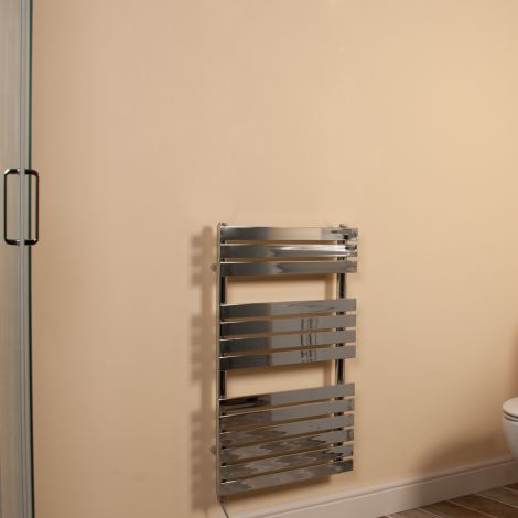 Wallpan Chrome Designer Electric Towel Rail 800mm high x 500mm wide