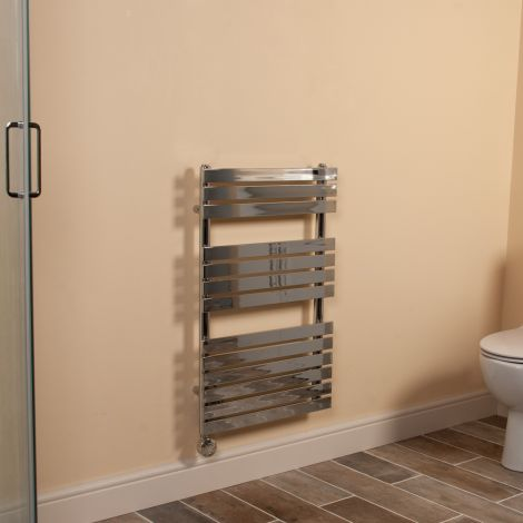 Wallpan Chrome Designer Thermostatic Electric Towel Rail 800mm high x 500mm wide