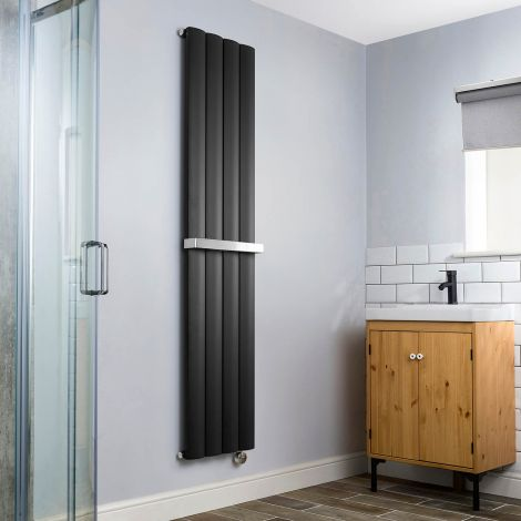 Aero Anthracite Vertical Thermostatic Electric Towel Rail 1800mm x 375mm - With Towel Bar