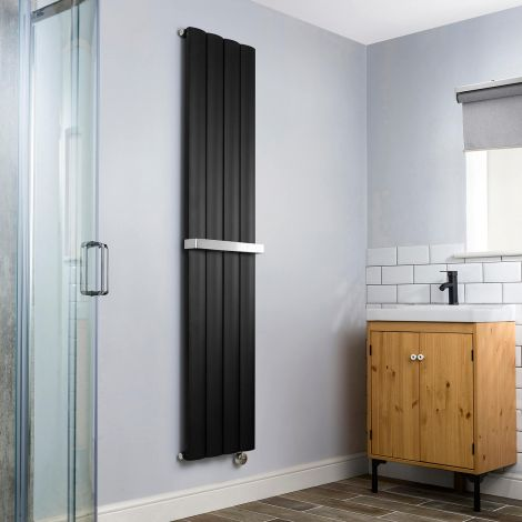 Aero Black Vertical Thermostatic Electric Towel Rail 1800mm x 375mm - With Towel Bar