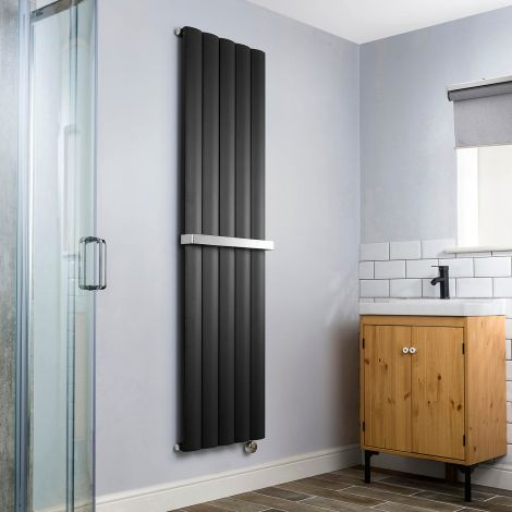 Aero Anthracite Vertical Thermostatic Electric Towel Rail 1800mm x 470mm - With Towel Bar,Aero Anthracite Vertical Thermostatic Electric Towel Rail 1800mm x 470mm - Without Towel Bar,Aero Anthracite Vertical Thermostatic Electric Towel Rail - Shoulder Clo