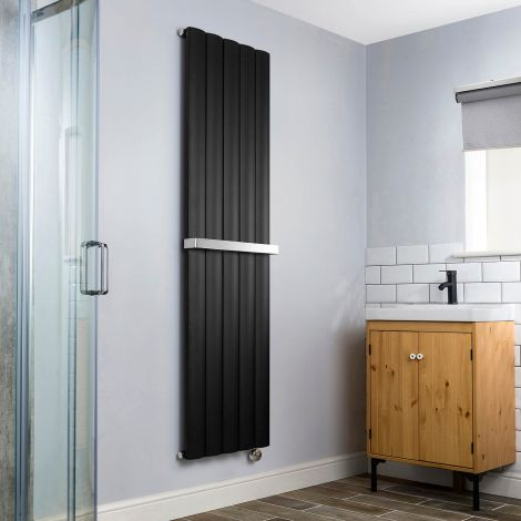 Aero Black Vertical Thermostatic Electric Towel Rail 1800mm x 470mm - With Towel Bar,Aero Black Vertical Thermostatic Electric Towel Rail 1800mm x 470mm - Without Towel Bar,Aero Black Vertical Thermostatic Electric Towel Rail - Shoulder Close Up,Aero Blac