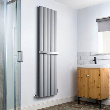 Aero Grey Heated Towel Rail 1800mm x 470mm - With Towel Rail,Aero Grey Heated Towel Rail 1800mm x 470mm - Without Towel Rail,Aero Grey Heated Towel Rail - Shoulder Close Up,Aero Grey Heated Towel Rail - Flow Valve Close Up,Aero Grey Heated Towel Rail - Re