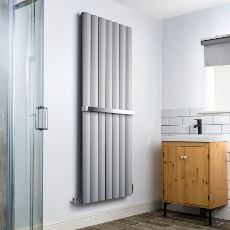 Aero Grey Heated Towel Rail 1800mm x 660mm - With Towel Bar