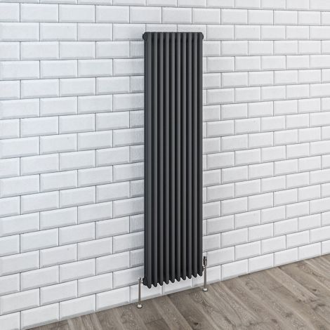 Old Style Anthracite Traditional 3 Column Radiators 1800mm high - Multiple width options