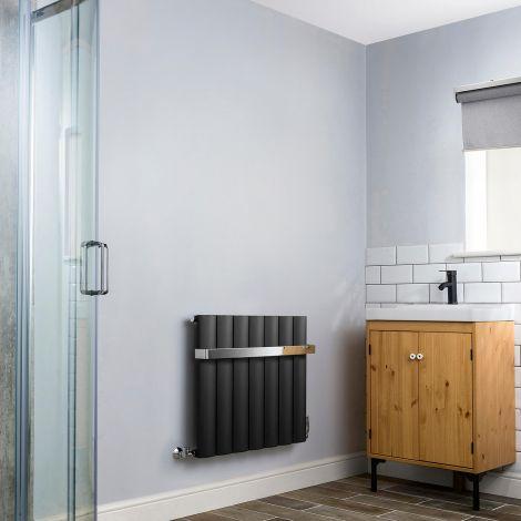 Aero Anthracite Heated Towel Rail 600mm x 660mm - With Towel Bar