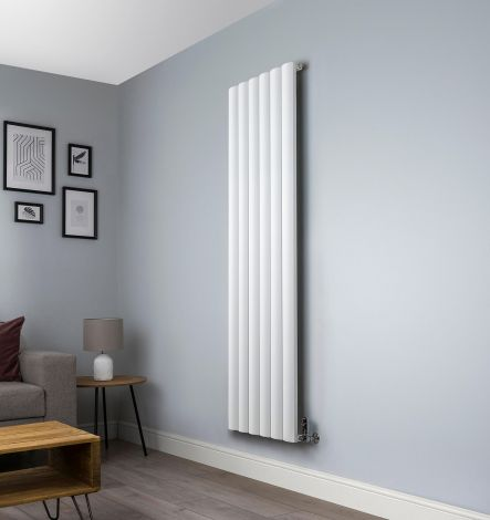 Aero Aluminium White Designer Radiator - 1800mm x 565mm ,Aero Aluminium White Close Up - Shoulder,Aero Aluminium White Close Up - Flow Valve,Aero Aluminium White Close Up - Return Valve