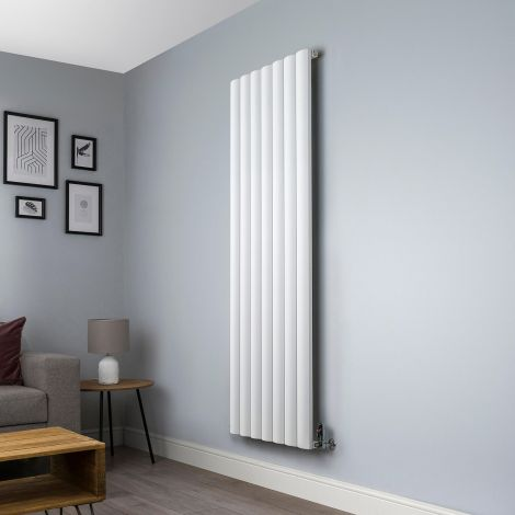 Aero Aluminium White Designer Radiator -1800mm x 660mm,Aero Aluminium White Close Up - Shoulder,Aero Aluminium White Close Up - Flow Valve,Aero Aluminium White Close Up - Return Valve