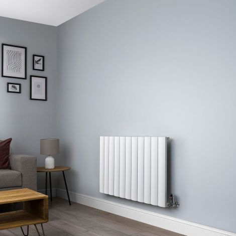 Aero Aluminium White Designer Radiator - 600mm x 1040mm,Aero Aluminium White Close Up - Shoulder,Aero Aluminium White Close Up - Flow Valve,Aero Aluminium White Close Up - Return Valve