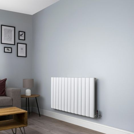 Aero Aluminium White Designer Radiator - 600mm x1230mm,Aero Aluminium White Close Up - Shoulder,Aero Aluminium White Close Up - Flow Valve,Aero Aluminium White Close Up - Return Valve