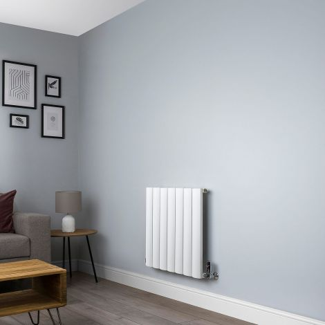 Aero Aluminium White Designer Radiator - 600mm x 660mm,Aero Aluminium Close Up - Shoulder,Aero Aluminium Close Up - Flow Valve,Aero Aluminium Close Up - Return Valve