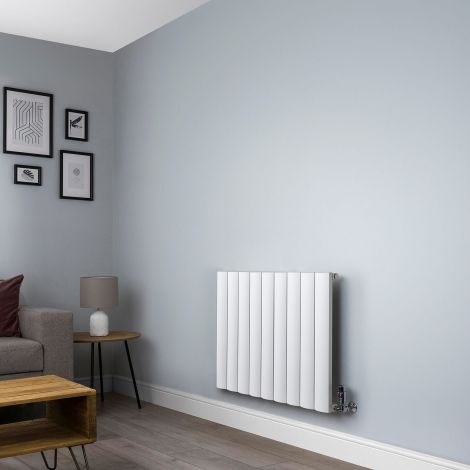 Aero Aluminium White Designer Radiator 600mm x 850mm,Aero Aluminium White Close Up - Shoulder,Aero Aluminium White Close Up - Flow Valve,Aero Aluminium White Close Up - Return Valve