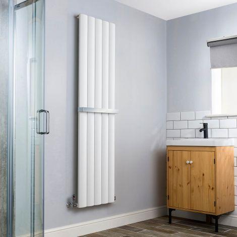 Aero Aluminium White Heated Towel Rail 1800x470 - With Towel Bar