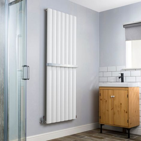 Aero Aluminium White Heated Towel Rail 1800x660 - With Towel Bar