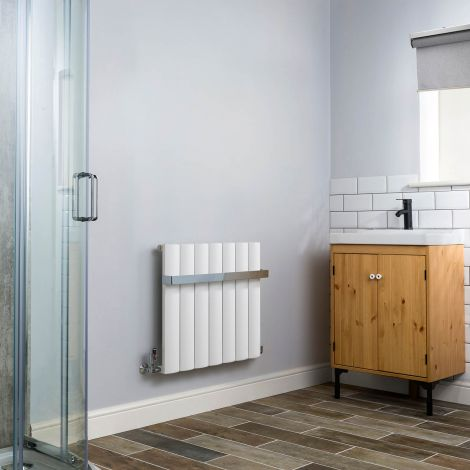 Aero Aluminium White Heated Towel Rail 600x660 - With Towel Bar,Aero Aluminium White Heated Towel Rail 600x660 ,Aero Aluminium White Close Up - Shoulder,Aero Aluminium White Close Up - Flow Valve,Aero Aluminium White Close Up - Return Valve