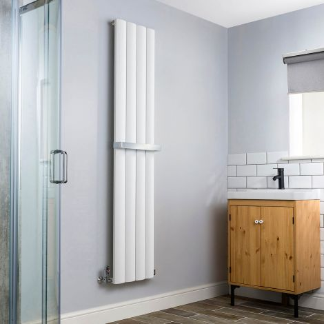 Aero Aluminium White Heated Towel Rail 1800x375 - With Towel Bar