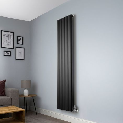 Aero Anthracite Vertical  Designer Radiator - 1800mm x 470mm,Aero Anthracite Vertical  Designer Radiator - Shoulder Close Up,Aero Anthracite Vertical  Designer Radiator - Flow Valve Close Up,Aero Anthracite Vertical  Designer Radiator - Return Valve Close