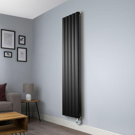 Aero Black Ecodesign Vertical Slim Electric Radiator - 1800mm high x 470mm wide