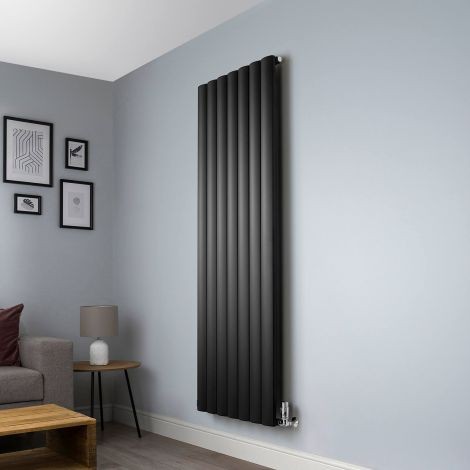 Aero Anthracite Vertical Designer Radiator - 1800mm x 660mm,Aero Anthracite Vertical Designer Radiator - Shoulder Close Up,Aero Anthracite Vertical Designer Radiator - Flow Valve Close Up,Aero Anthracite Vertical Designer Radiator - Return Valve Close Up