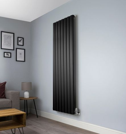 Aero Black Vertical Designer Radiator - 1800mm x660mm,Aero Black Vertical Designer Radiator - Shoulder Close up,Aero Black Vertical Designer Radiator - Flow Valve Close up,Aero Black Vertical Designer Radiator - Return Valve Close up