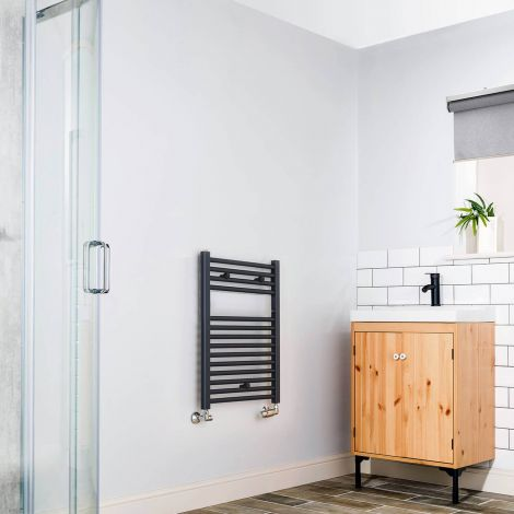 Anthracite Straight Ladder Short & Narrow Heated Towel Rail 700mm high x 400mm wide