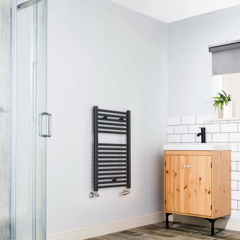 Anthracite Straight Ladder Short Heated Towel Rail 800mm high x 500mm wide