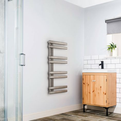 Bello Brushed Stainless Steel Floating Open Side Designer Heated Towel Rail 1000mm high x 500mm wide