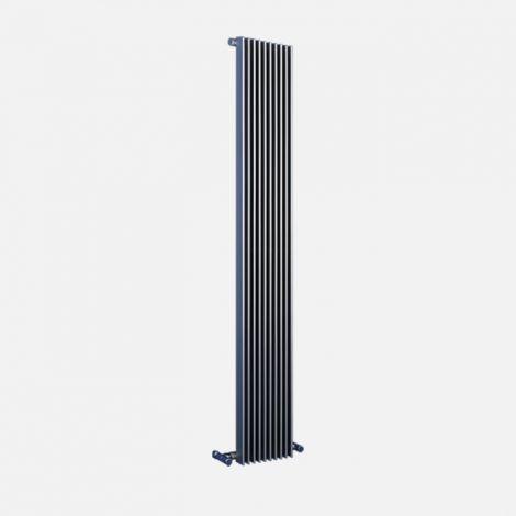 Bisque Finn Aluminium Vertical Designer Radiator - Grey Background