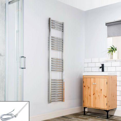 Chrome Curved Ladder Slim Electric Towel Rail 1600mm high x 400mm wide