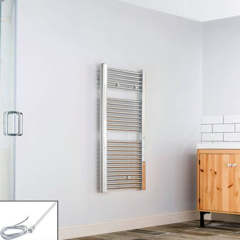 Chrome Straight Ladder Electric Towel Rail 1200mm high x 600mm wide