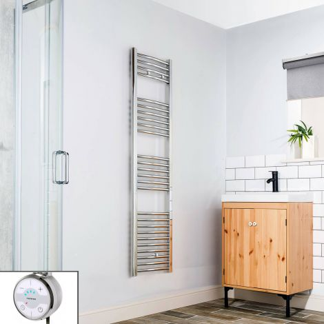 Chrome Curved Ladder Slim Thermostatic Electric Towel Rail 1600mm high x 400mm wide