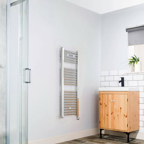 Chrome Straight Ladder Thermostatic Electric Towel Rail - 1100mm high x 400mm wide