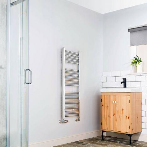 Chrome Straight Ladder Slim Space Saving Heated Towel Rail 1100mm high x 400mm wide