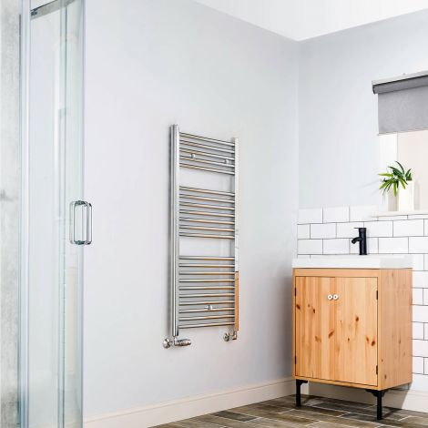 Chrome Straight Ladder Heated Towel Rail - 1100mm x 500mm